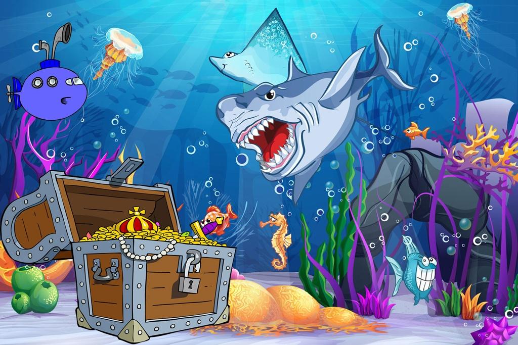 skattejagt med undervandstema